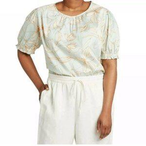 NEW! Ava + Viv Floral Green Cotton Blouse Size 2X